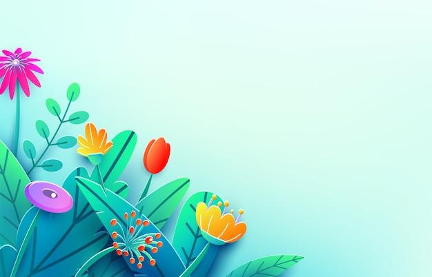 Zomergrens met papier gesneden fantasie bloemen, bladeren, geïsoleerd Gratis Vector