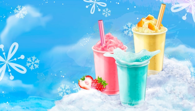 Zomerijs geschoren afhaalbeker in mango-, aardbeien- en frisdrankaroma's met blauwe ijsachtergrond met sneeuwvlokken Premium Vector