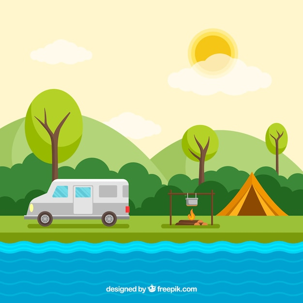Zomerkamp achtergrond met busje en kampvuur Gratis Vector