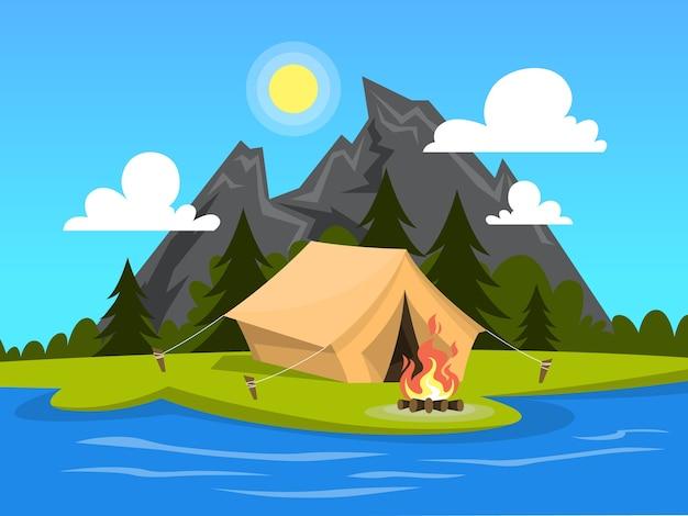 Zomerkamp. tent met kampvuur aan de rivier Premium Vector