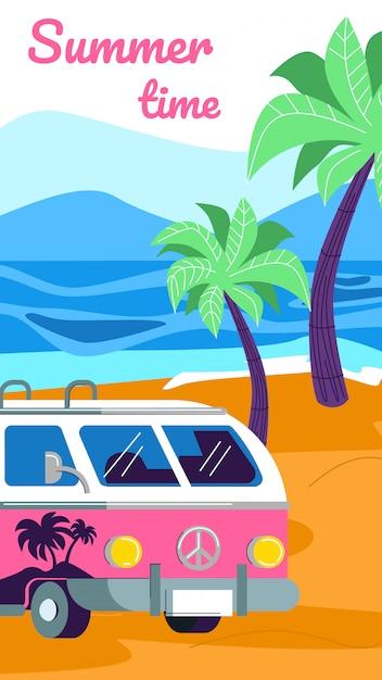 Zomerkamperen met camper op strand Premium Vector