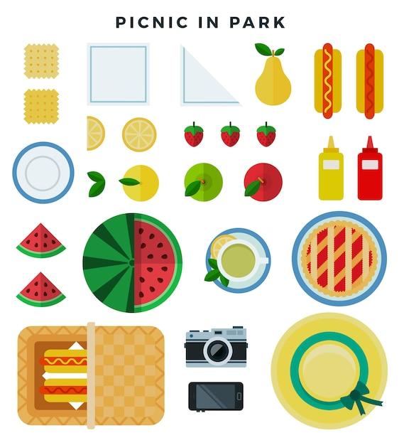 Zomerpicknick in park op de weide Premium Vector