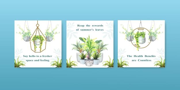 Zomerplanten en kamerplanten adverteren sjabloonontwerp voor folder, brokaat en boekje aquarel illustratie Gratis Vector