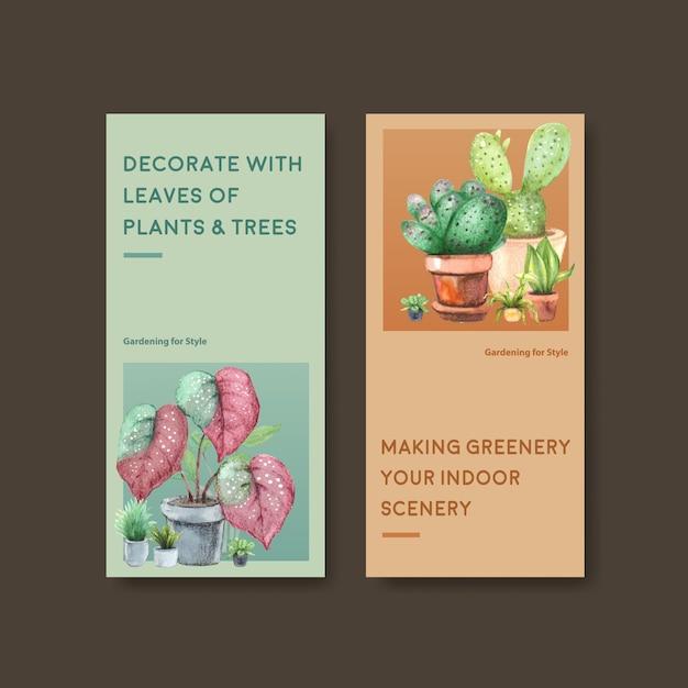 Zomerplanten flyer sjabloonontwerp voor folder, boekje, adverteren aquarel illustratie Gratis Vector