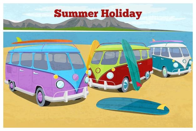 Zomerreisontwerp met surfende camper. auto retro en vintage voertuigvervoer, strandvakantie, zand en kust Gratis Vector