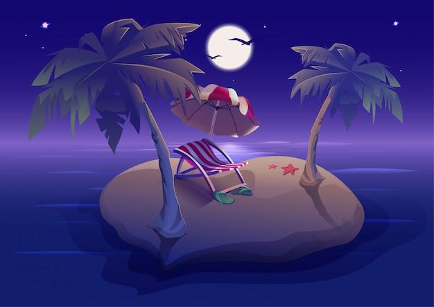 Zomerrust. romantische nacht op tropisch eiland onder de palmbomen Premium Vector