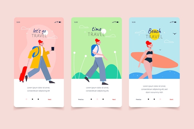 Zomerse reizen mobiele app-schermen Gratis Vector