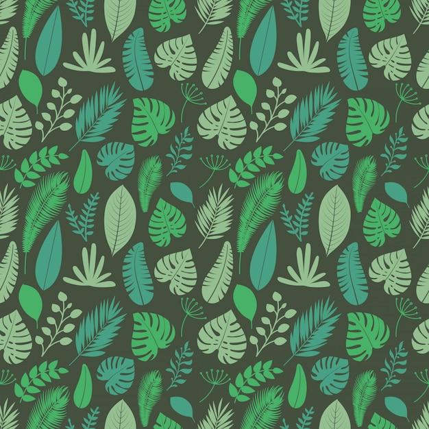 Zomerseizoen exotische bladeren naadloze achtergrond Premium Vector