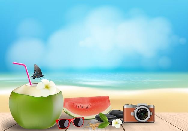 Zomerseizoen vakantie op strand achtergrond, Premium Vector