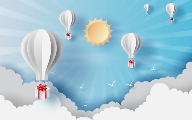 Zomertijd met ballonnen giftbox zweven. Premium Vector