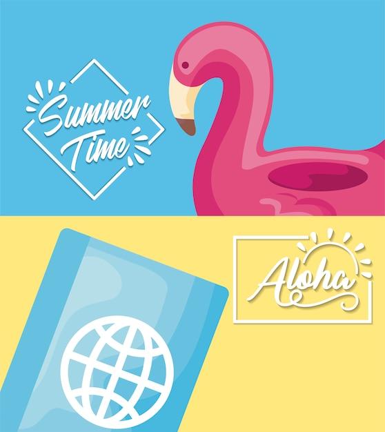 Zomertijd vakantie poster met vlaamse vlotter en paspoort Gratis Vector