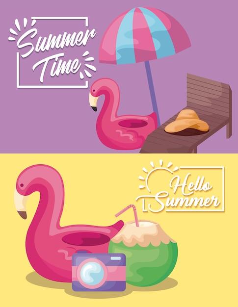 Zomertijd vakantie poster met vlaamse zweven en paraplu Gratis Vector
