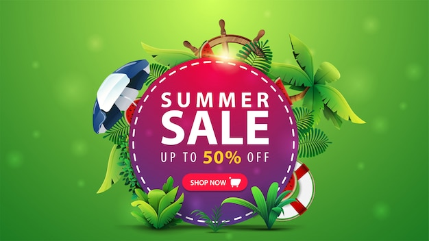 Zomeruitverkoop, tot 50% korting, korting webbanner voor uw website met een roze cirkel met aanbieding, zomerelementen en strandaccessoires. Premium Vector