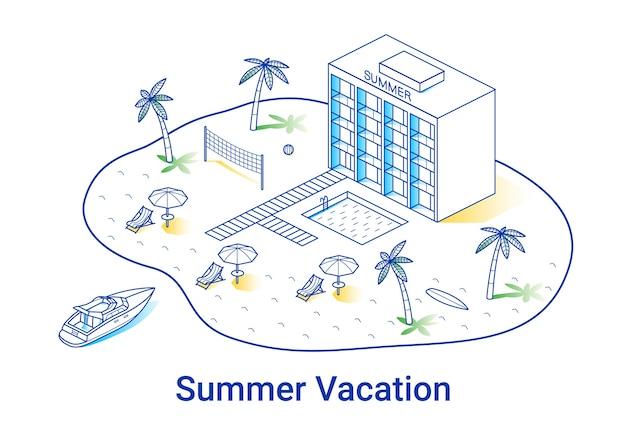 Zomervakantie illustratie in lineaire isometrische stijl. minimal art lijn. concept met hotel, palmen en jacht. Premium Vector