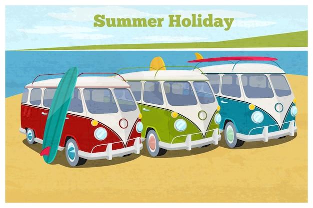 Zomervakantie illustratie met camper. vervoer en vakantie, retro bus. Gratis Vector