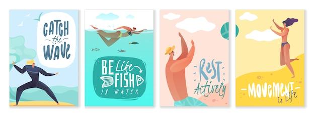 Zomervakantie kaarten. set van vier verticale posters rond het thema strand buitenactiviteiten op witte achtergrond met motiverende slogans en citaten rust activiteiten leven zomer Premium Vector