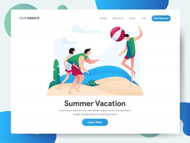 Zomervakantie met groep mensen spelen strandbal banner voor bestemmingspagina Premium Vector
