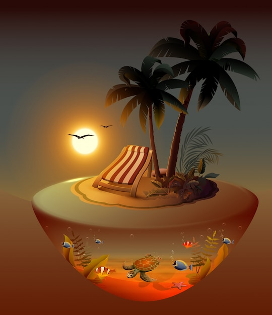 Zomervakantie op nacht tropisch eiland onder palmbomen. Premium Vector