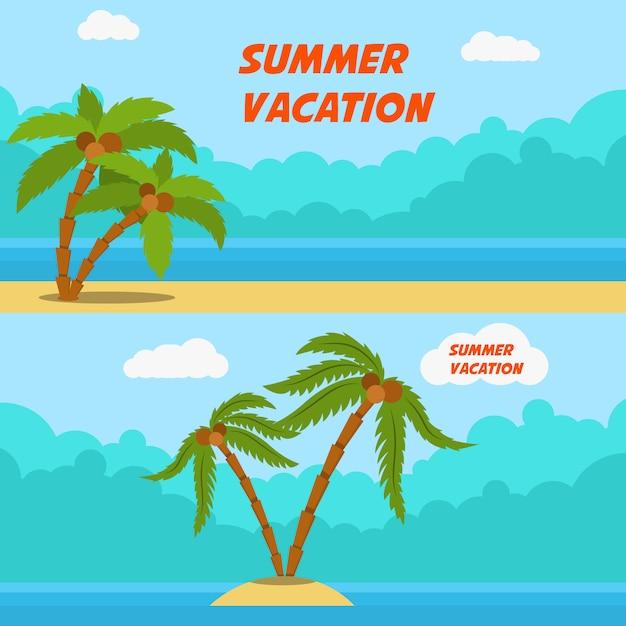 Zomervakantie. set cartoon stijl banners met palmen en strand. beeld Premium Vector