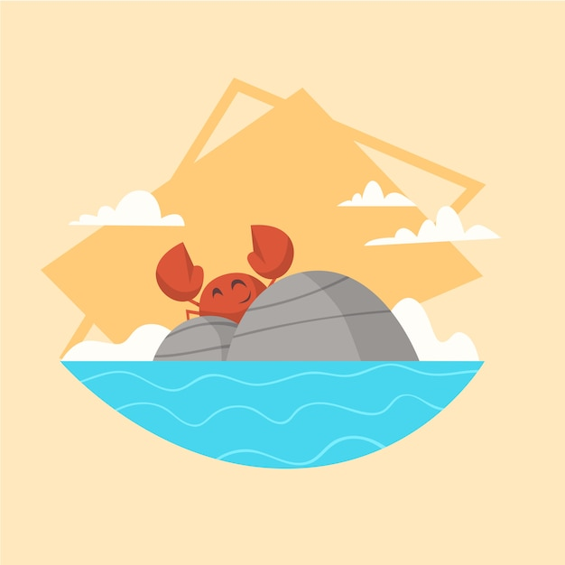 Zomervakantie zee landschap pictogram prachtig eiland zeegezicht kustvakantie Premium Vector