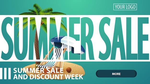 Zomerverkoop, creatieve groene kortingswebbanner voor uw website Premium Vector