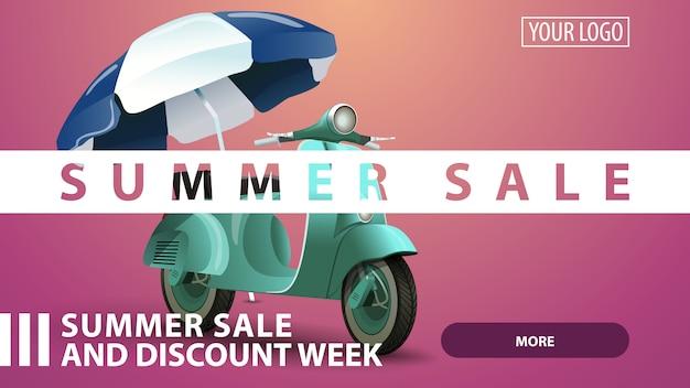 Zomerverkoop, creatieve roze korting webbanner voor uw website Premium Vector