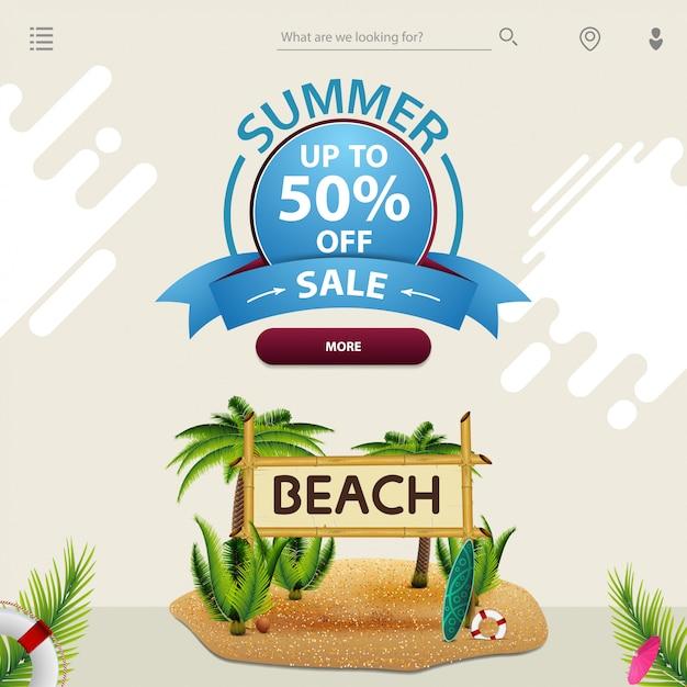 Zomerverkoop, een sjabloon voor uw website in een minimalistische lichte stijl Premium Vector