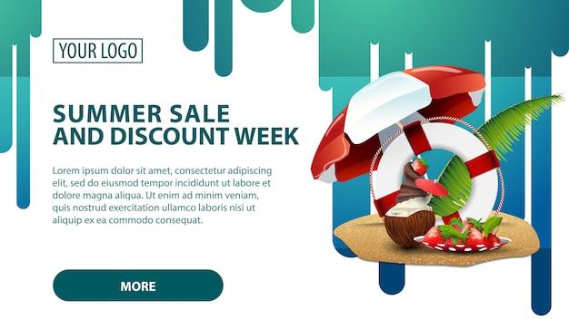 Zomerverkoop en kortingsweek, banner met kokosijs-ijscocktail Premium Vector
