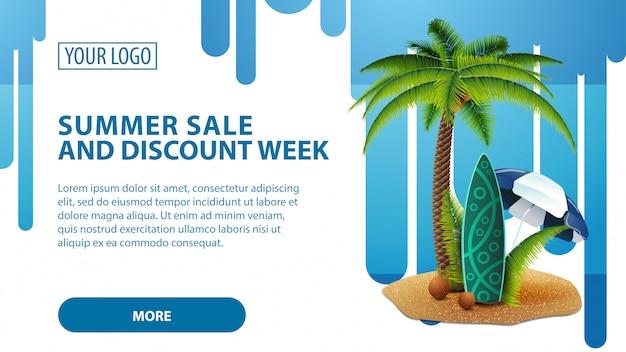 Zomerverkoop en kortingsweek, banner met palm- en surfplank Premium Vector