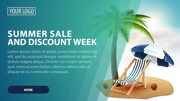 Zomerverkoop en kortingsweek, creatieve groene kortingswebbanner voor uw kunst Premium Vector