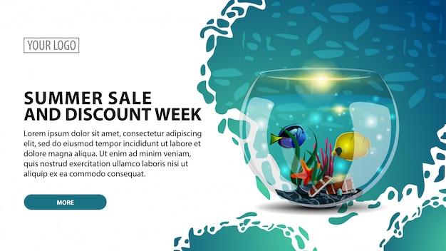 Zomerverkoop en kortingsweek, moderne webbanner Premium Vector