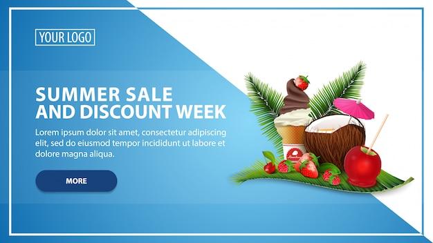 Zomerverkoop en kortingsweek Premium Vector