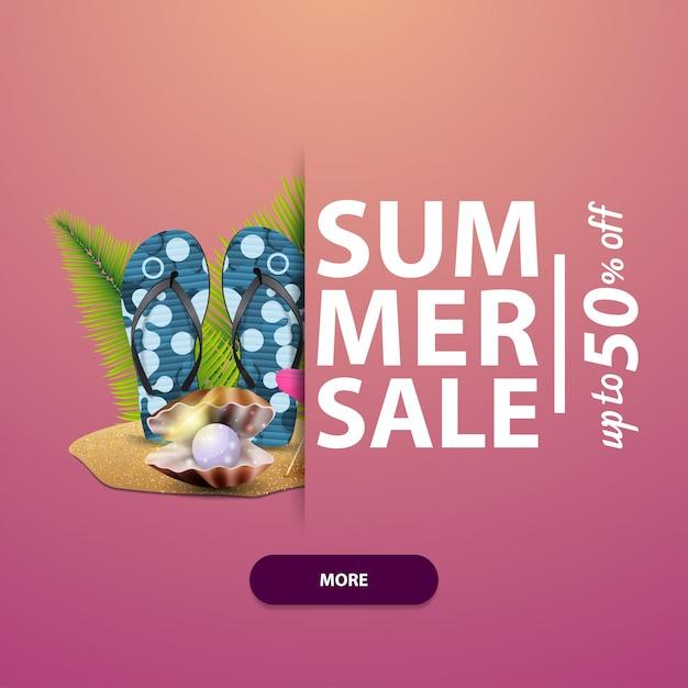 Zomerverkoop, vierkante banner voor uw website, advertenties en promoties Premium Vector