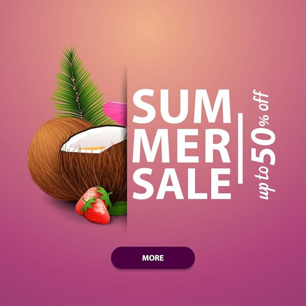 Zomerverkoop, vierkante bannersjabloon, advertenties en promoties Premium Vector