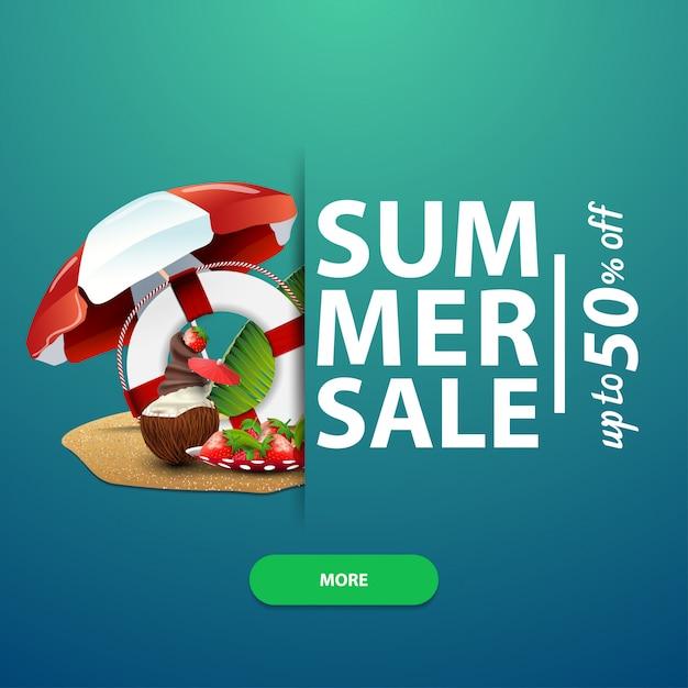Zomerverkoop, vierkante bannersjabloon voor uw website, advertenties en promoties Premium Vector