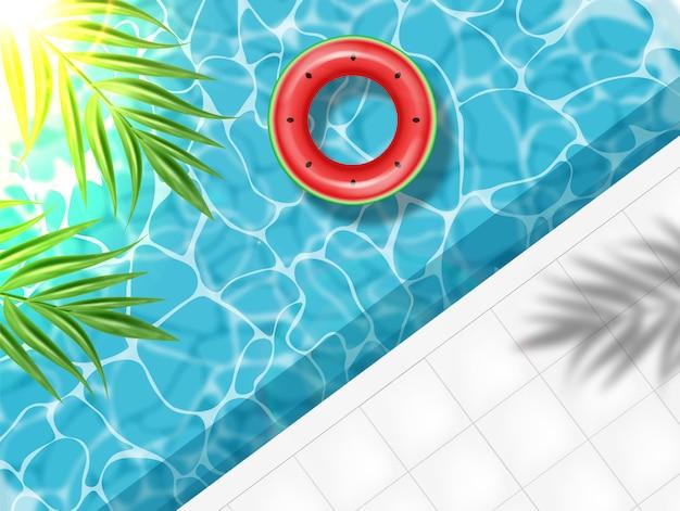 Zomerzwembad en zwemring Premium Vector