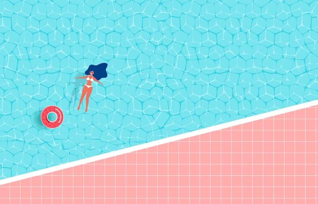 Zomerzwembad met meisje en rubberen ring. Premium Vector