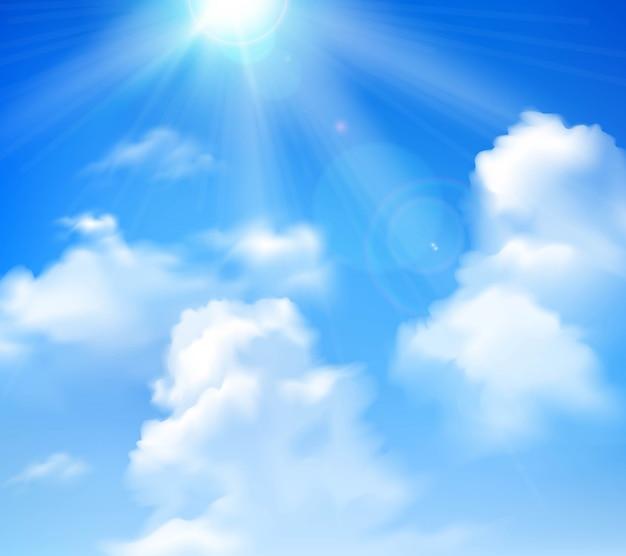 Zon die in blauwe hemel met witte wolken realistische achtergrond glanst Gratis Vector