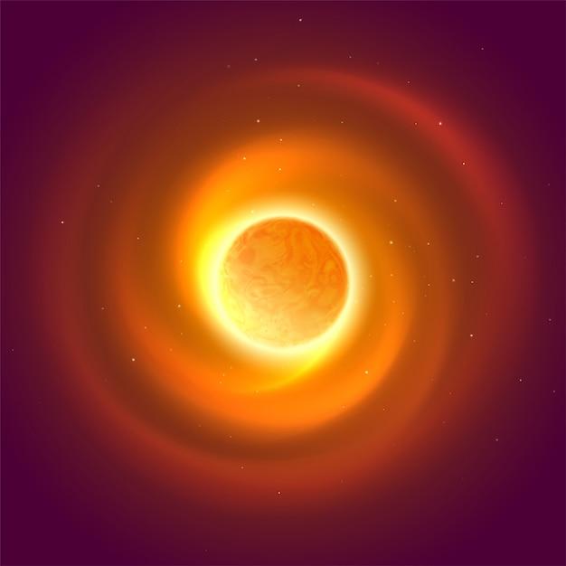 Zon en ruimte gloeien achtergrond. vector illustratie Premium Vector