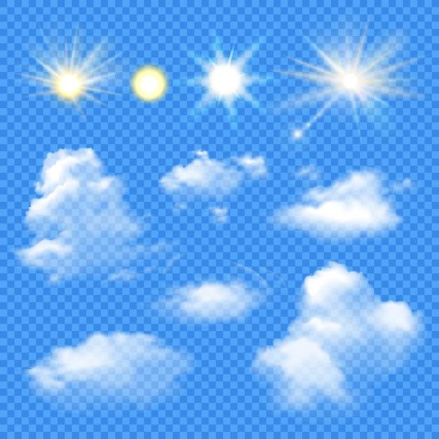 Zon en wolken instellen Gratis Vector