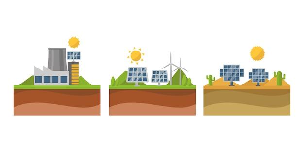 Zon zonne-energie macht elektriciteit technologie vector. Premium Vector