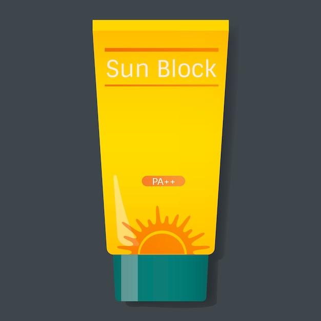 Zonblok bescherming gele buis vectorillustratie Gratis Vector