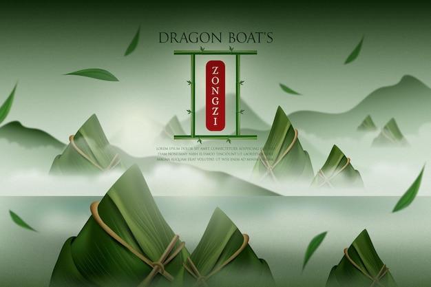 Zongzi-achtergrond van realistische drakenboot Gratis Vector