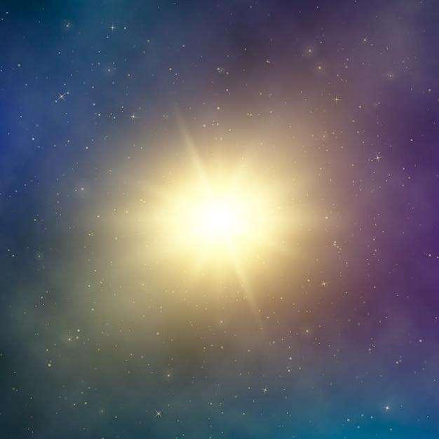 Zonlicht. abstracte heldere ster in de ruimte. donkere astrale fantasie achtergrond. illustratie Premium Vector