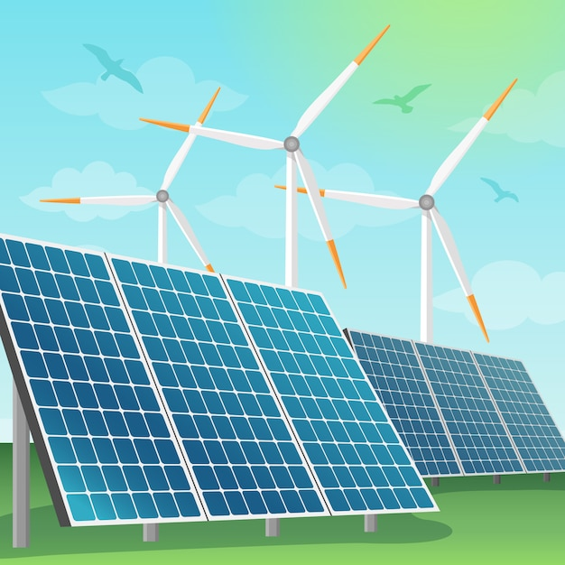 Zonne batterijen en windmolensillustratie Premium Vector