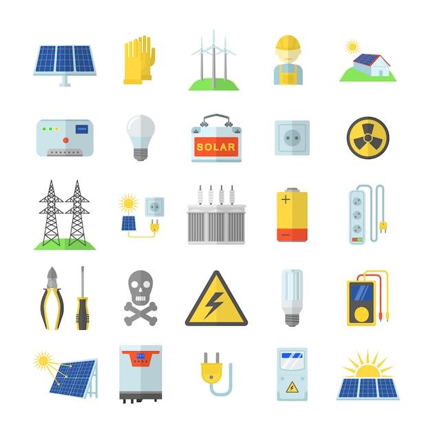 Zonne-energie apparatuur pictogrammen instellen. vlakke afbeelding van 25 zonne-energie apparatuur pictogrammen voor web Premium Vector