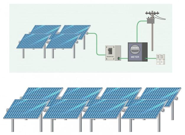 Zonne-energie met zonnecel Gratis Vector