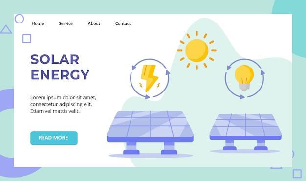 Zonne-energie paneel zonne-energie campagne voor de startpagina van de startpagina van de website Premium Vector