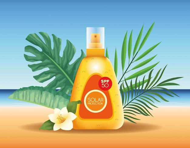 Zonnebescherming flessen product voor de zomer reclame Gratis Vector