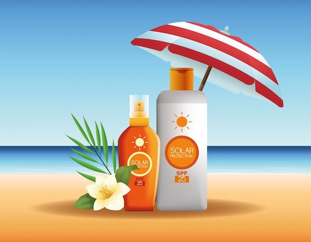 Zonnebescherming flessen producten voor de zomer reclame Gratis Vector